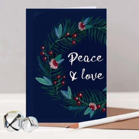 Peace and love Christmas card