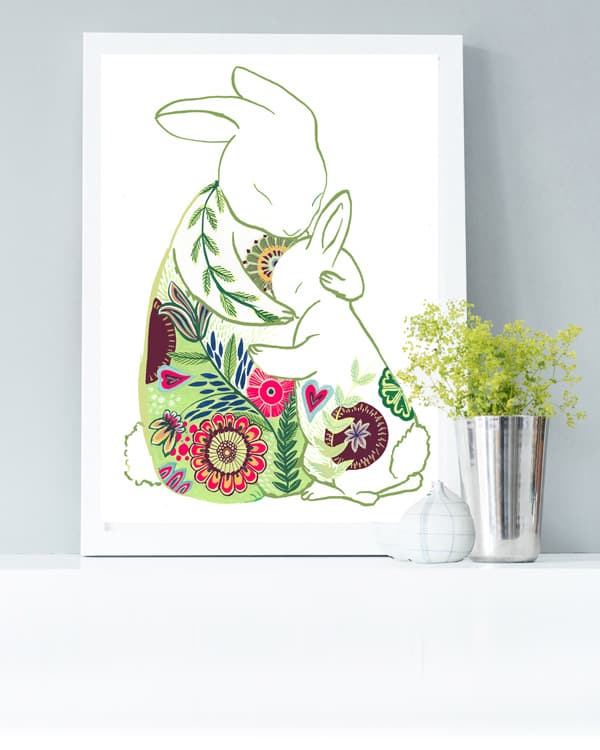 Hugging rabbits art print - mother's day gift