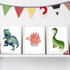 Set of 3 Nursery dinosaur wall prints for chldren