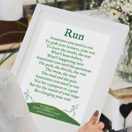 Personalised running print gift for a runner