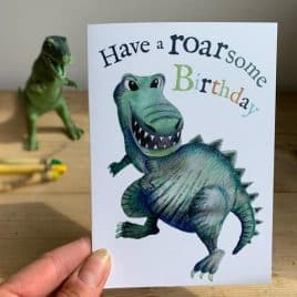 Roarsome birthday – dinosaur birthday card