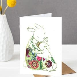 Rabbits Hugging Card
