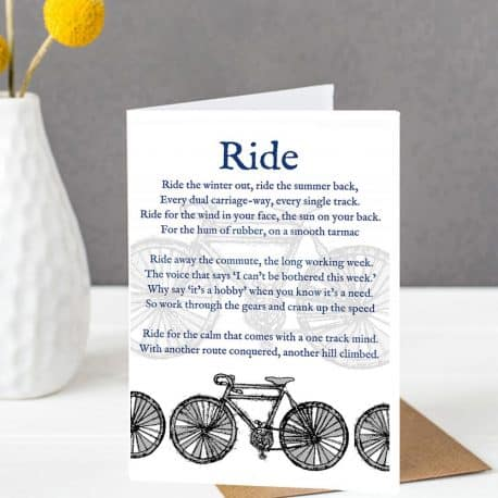 Cycle Poem card for a cyclist