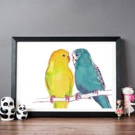 Budgies Love Birds Print
