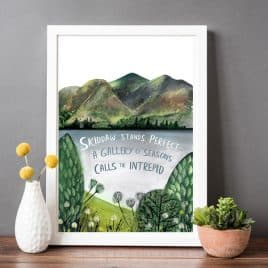 Skiddaw Haiku Print - Lake District Print